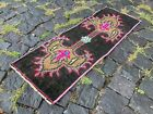 Small rug, Doormats, Bohemian rugs, Natural dyed rug, Soft, Wool | 1,0 x 2,8 ft