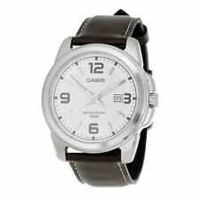 Casio Genuine Leather Band Watch 50M Date Analogue MTP-1314L-7A White Dial