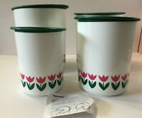 Rare TUPPERWARE One Touch 4-Pc TULIP CANISTER SET w/LIDS~Green/Dk Pink FLOWER~US