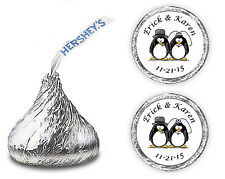 108 PENGUIN BRIDE AND GROOM WEDDING FAVORS KISSES CANDY ENVELOPE SEALS DECALS