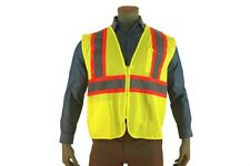 Indian River High Vis Green Mesh Safety Vest Two Toned Striping 2 Pocket Class 2