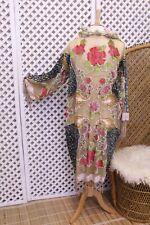 Vintage 70s style floral fringe bead Devore silk velvet Kimono Jacket hippie