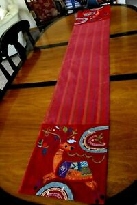 """Pier One Table Runner 13"""" x 72"""" Embroidered Beads Applique Reindeer Reds Golds"""