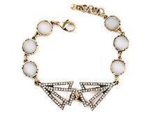 B430 Forever 21 Vintage Sparkling Moon Stone Creamy Marble Gemstone Bracelet US