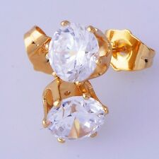 Round CZ Yellow Gold Filled Womens Mens Small Stud Earrings lot free shipping