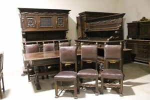 18658 Antica sala da pranzo Rinascimentale con grata  in ferro piedi leonini