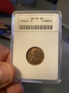 1936-D Lincoln Wheat Cent 1C NGC MS65RB - Anacs Soapbox Holder