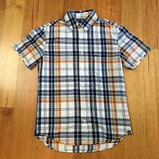 Men's Hurley Checkered Casual Short Sleeve Shirt Size S 100% Cotton