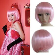 Fashion Bobo Short Straight Pink Party Dress Hair Wig Cosplay For Girl Lady