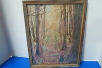 "10""x 12"" Vintage Framed Picture Of Angel Following Little Girl Thru Woods"