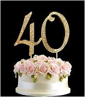Diamante Rhinestone Gem Cake Pick Topper Birthdays Anniversary Gold - 40