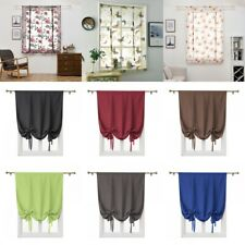 Peony Printed / Solid Color Short Sheer Roman Curtains for Kitchen Window Door