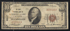1929 $10 THE FIRST NATIONAL BANK OF ELBOW LAKE, MN NATIONAL CURRENCY #4617