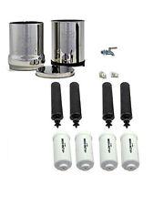 Royal Berkey Water Filter Purification 4 Black 4 PF-2 Stainless Steel Spigot