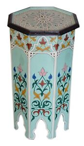 Moroccan Table Wood End Table Coffee Middle East Arabesque Decor Handmade Aqua