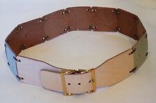Vintage Pastel Leather Piece Belt 28 Inch Waist