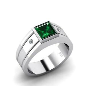 Bezel Emerald Band for Man with 0.04 ct Diamonds in Solid Silver Male Gem Ring