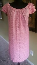 Ronni Nicole Womens Plus Pink Eyelet Lined Knee Length Dress Size 18W