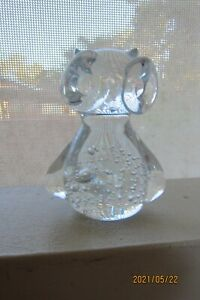 Clear Glass Paper Weight Owl