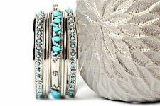 Women's Fashion Silver Beaded Boho  Bangles Bracelets Set Turqouise/Silver