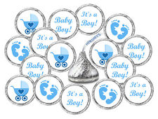 108 KISSES LABELS BABY SHOWER PARTY ITS A BOY BLUE FAVORS STICKER FOOTPRINTS
