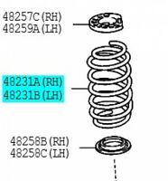 TOYOTA 48231-52A10 Coil Spring RR RH LH Left / Right VITZ Genuine 2005-2010