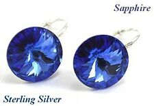 *STERLING SILVER* - RIVOLI - Sapphire Earrings made with SWAROVSKI Crystals