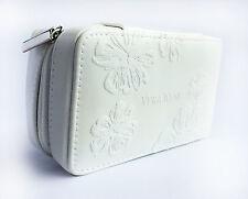 Vera WANG Small Bianco Floreale Pattern Makeup caso - 125 x 75 x 52mm (vpu232)