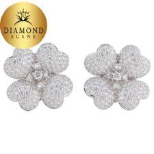 Diamond White Gold Flower Earrings