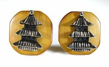 Gold Tone Cufflinks with Temple on Bamboo by Swank Arts of the World