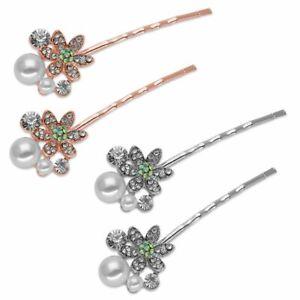 1 Paar Haarklemmen mit Strassblume Perle Haarclip silber rosegold Braut Glitzer