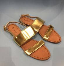 f24d29c6cec Boden Serena Gold Leather Flat Sandals 42 8 Brand New