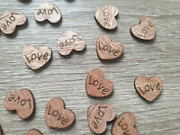 SMALL RUSTIC WOODEN LOVE HEARTS - 15MM - PACKS OF 50, 100, 300, 500