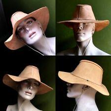 Mens Womans Tan Natural Raw Leather Cowboy Hat Western Fedora M/L Unworn