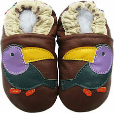 shoeszoo soft leather baby shoes toucan brown 0-6m