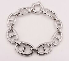 Graduated Puffed Mariner Gucci Bracelet Platinum Clad Rhodium Sterling Silver