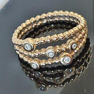 Pandora 14ct Gold and 0.07ct Diamond Bubble Ring 58 Super Rare 150115 Free Post