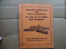 Allis Chalmers No 214 215 Series Disc Harrow Operators Manual Tm153a