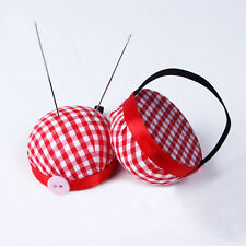 Plaid Grids Needle Sewing Pin Cushion Wrist Strap Tool Buttons Storages HoldersX