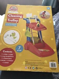 GIRLS RED CLEANING TROLLEY Set PLAY And PRETEND TOY SET Ideal Gift For KIDS  3+