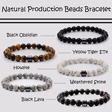Natural Stone Hematite Magnetic Beaded Bracelets Reiki Balance Yoga Gem Jewelry