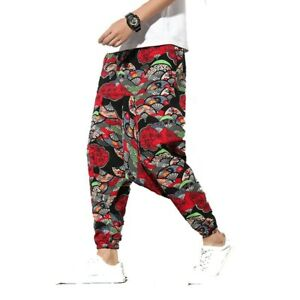 Chinese style Floral Printed Drop Crotch Baggy Harem Pants Trousers Men's  Loose