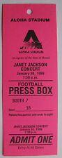 Janet Jackson Unused Press Box Velvet Rope Tour Concert Ticket-Aloha Stadium