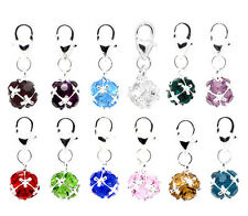 12 Mixed Birthstone Clip On Charms Fit Chain Bracelet