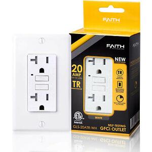 Faith Electric 20A GFCI Outlet Slim, Tamper-Resistant GFI Duplex Receptacle