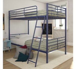 Mainstays twin over twin convertible bunk bed, blue metal