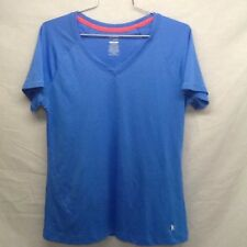 DANSKIN NOW 100% Polyester Blue V Neck Sports Top - Women's Size Large (12 - 14)
