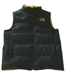 The North Face Black to Yellow Reversible Down Vest Boys Size Large 14/16