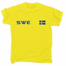 Sweden Flag T-SHIRT Swedish Sverige Sport Soccer Football Swede birthday gift