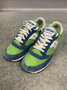 Saucony Men's Jazz Vintage Suede Mesh Lace-Up Low-Top Sneakers Blue/Green